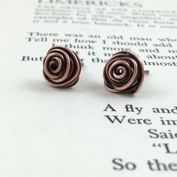 Rosebud Earrings. Copper Wire Wrapped Post by BluffsEdgeJewelry