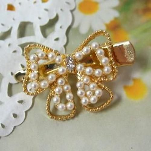 Faux-Pearl Barrette Gold - One Size