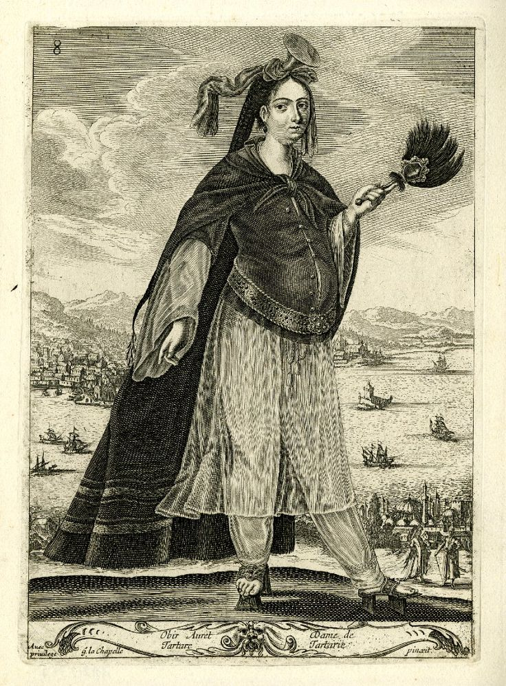 Tartar woman, standing, turned to the right, with fan in left hand, and wearing headdress, cloak, short tunic over see-through dress and baggy breeches, and platform shoes; coastal landscape in the background; after La Chapelle. c.1648 Etching and engraving