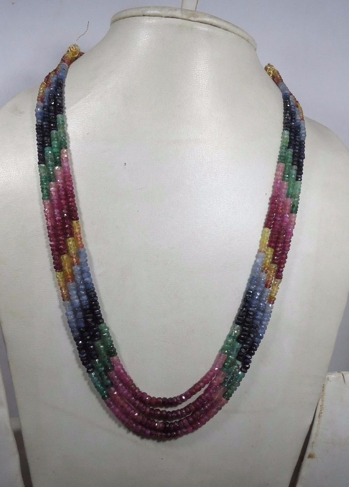 FINEST TOP QUALITY NATURAL EMERALD RUBY SAPPHIRE NECKLACE 241.50 Cts,4 STRANDS #GemstoneTopper #StrandString