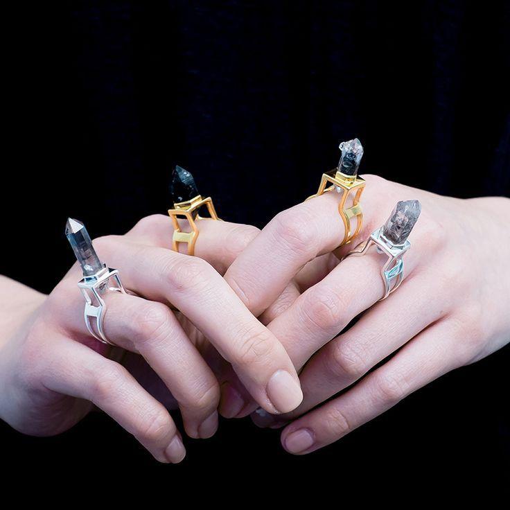 Black Grey Crystal Quartz Rings   Shop Now   Exploring the beautiful dark with these statement black phantom crystal quartz stacking rings   L'Orage rings   Au Revoir Les Filles   Shop now via website link