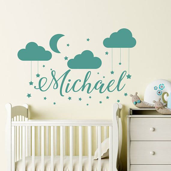 Name Wall Decal Baby Nursery Wall Decal Boy Name For Sonu0027s Nursery Vinyl  Decal Clouds Wall Decor Mo