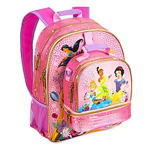 Disney Princess Backpack and Lunch Tote Collection | Disney Store Take Aurora, Jasmine, Cinderalla and the rest of the gals from the classroom to snack time in our mixed princess backpack and matching lunch tote.