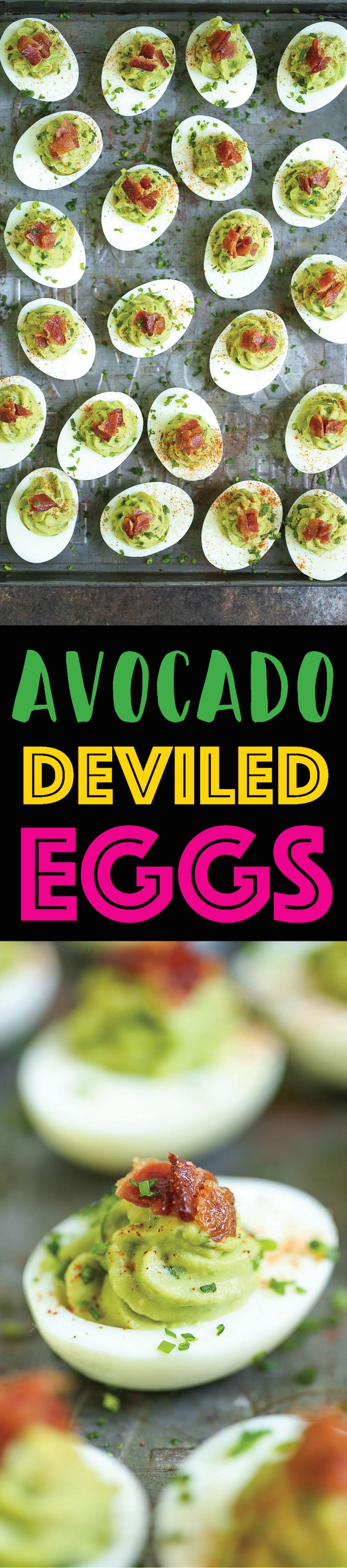 Avocado Deviled Eggs - So much better than your traditional-style deviled eggs! Loaded with avocado and crisp bacon bits. Can be made up to 3 hours ahead!