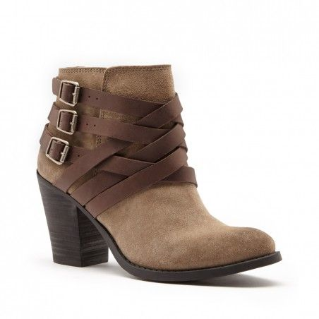 Women's Bourbon Leather 3 Inch Stacked Heel Leather Bootie | Elwoodd by Lucky Brand