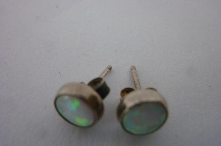 """Vintage Opal Earrings Sterling Studs Pierced Earrings Button Style Starter Earrings 1/8"""" Diameter by ZoomVintage on Etsy"""