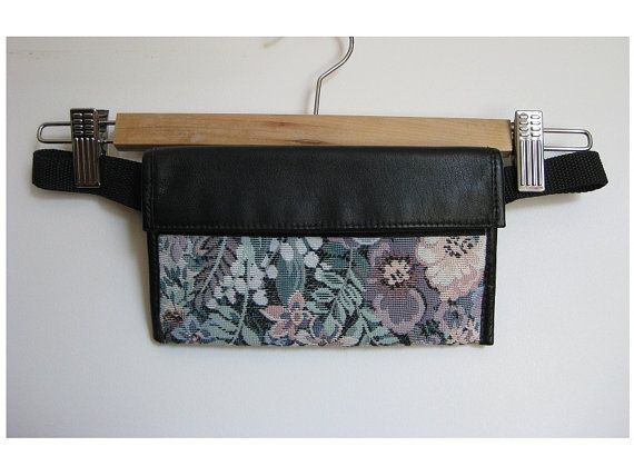 80s tapestry fanny pack with leather flap  travel by EcoCentrik  #fannyPack #travelWallet www.ecocentrik.etsy.com