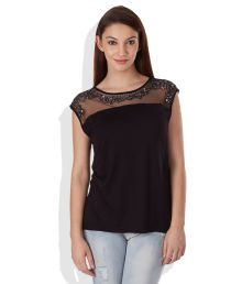 United Colors of Benetton Black Embroidered Top