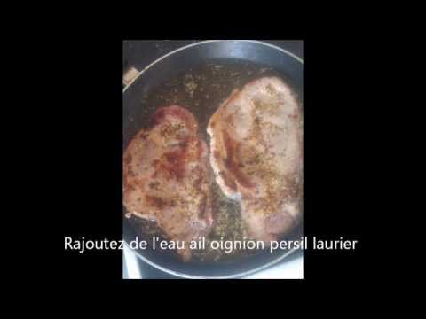 Recette côtes de porc à la moutarde /pork chops with mustard recipe