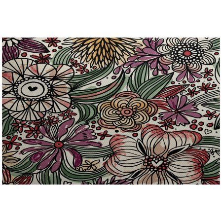 Simply Daisy 5' x 7' Zentangle Floral Floral Print Indoor/Outdoor Rug, Purple