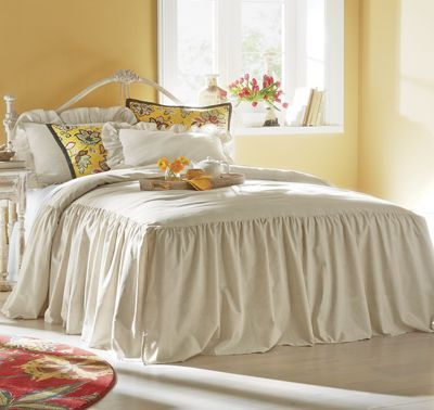 Ruffled Linen Bedspread