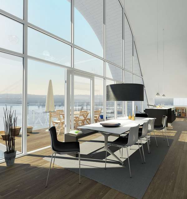 "Dinning room of ""The Wave"" apartments, Veiji, Denmark"