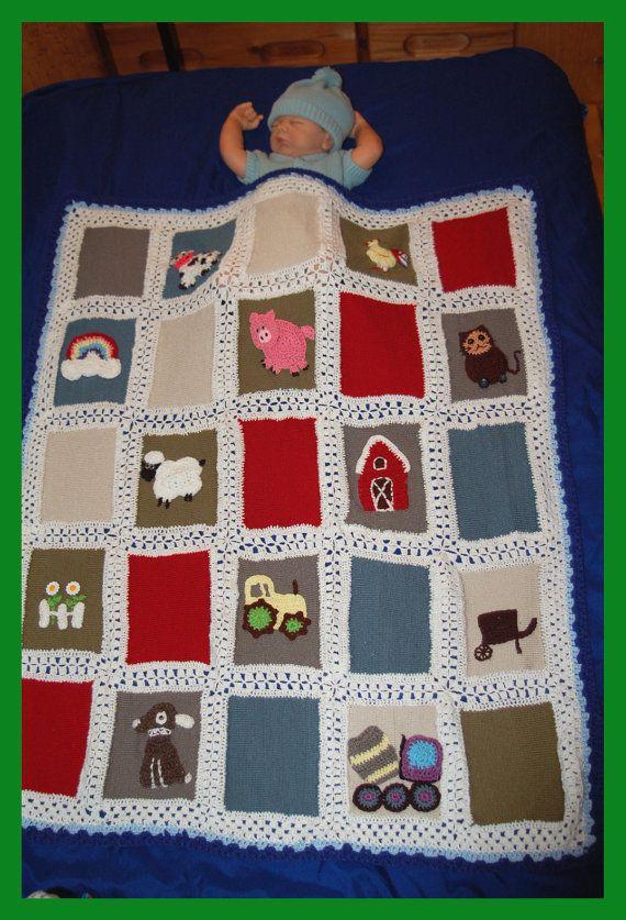 Crochet blanket Crochet Farm Blanket Adorable by LoveCareHandmade