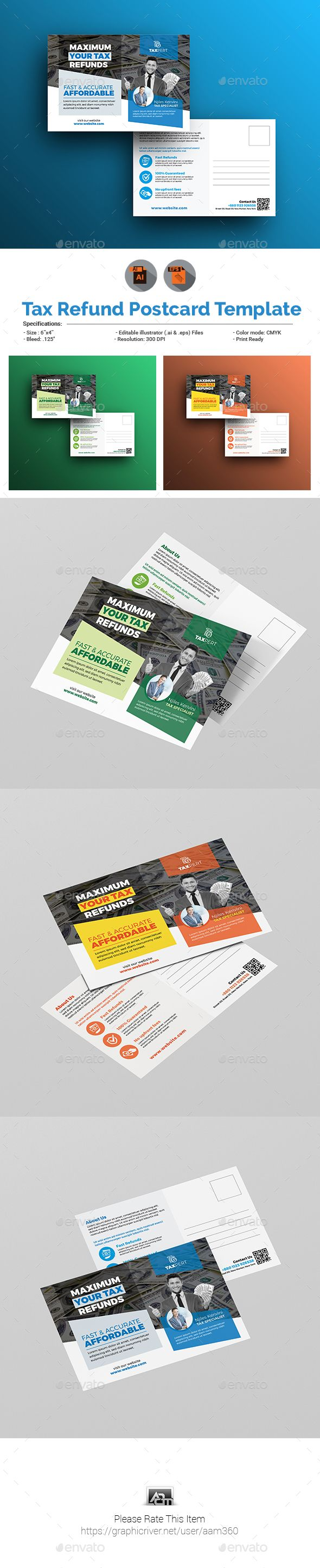 #Tax Refund #Postcard Template - Cards & #Invites Print Templates