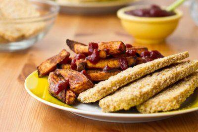 crispy breaded tofu strips amp sweet potato fries jennifer cox this is ...
