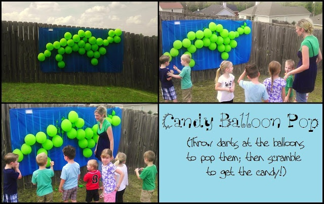 """love this game idea for the dino party!  Change for A's party so each kid gets to choose one """"dino egg"""" to pop and get the contents.  ~Instead of a piñata maybe?"""