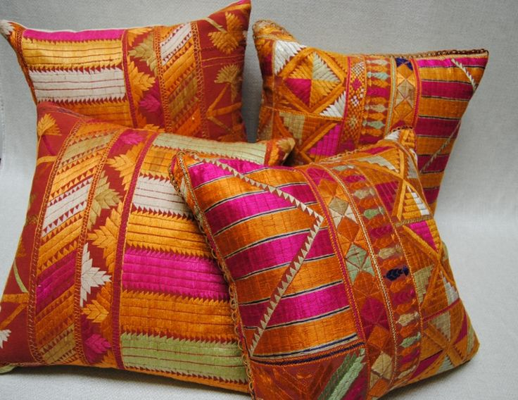Rich color!  Custom pillows from vintage Phulkari Bagh Wedding Shawls from Punjab, India.  Maison Suzanne Gallery