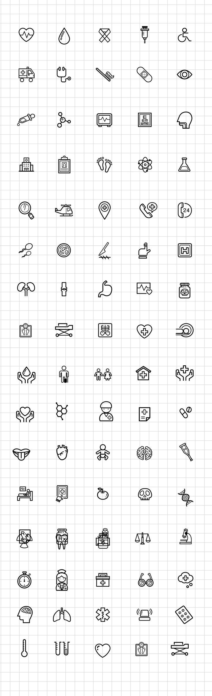 ⬇ Free download: Medical and Science Outline Icon Set Free PSD