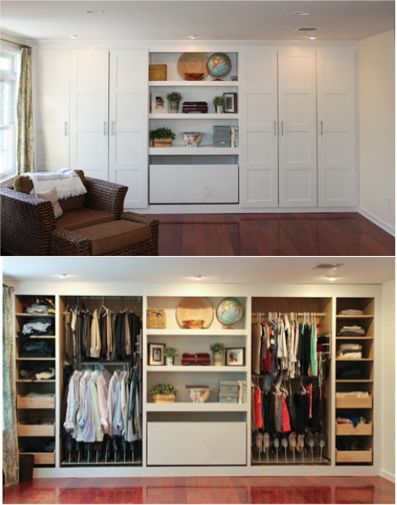 diy built in closet. so well organized! need spot for full length dresses and tv