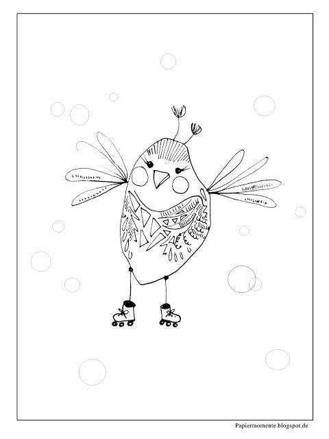 .: Ausmalbild Großer Vogel