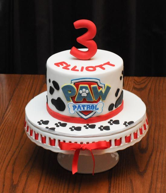 Here is a cute little Paw Patrol birthday cake. It was inspired by Marshall the dalmatian, who is apparently the birthday boy's favourite character from the show! Everything is edible, of course, ...