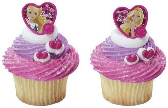 Barbie Fashion Heart Holographic Foil Cupcake Rings