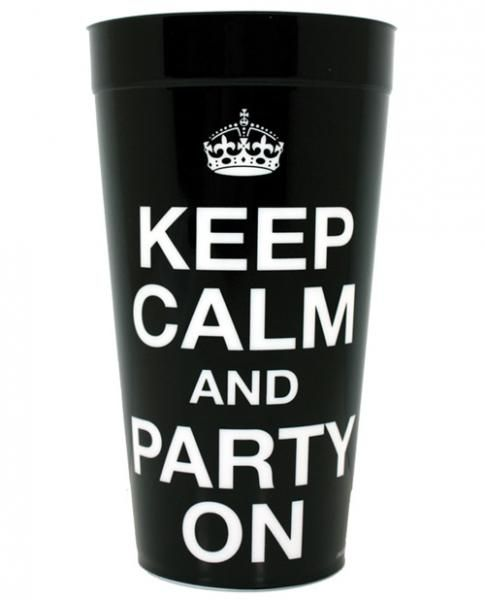 Keep Clam and Party On plaastic drinking cup. Adult party supplies.