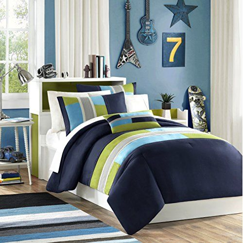 Navy, Teal, Light Green Boys Twin Reversible Comforter and Sham Set Plus BONUS PILLOW LB