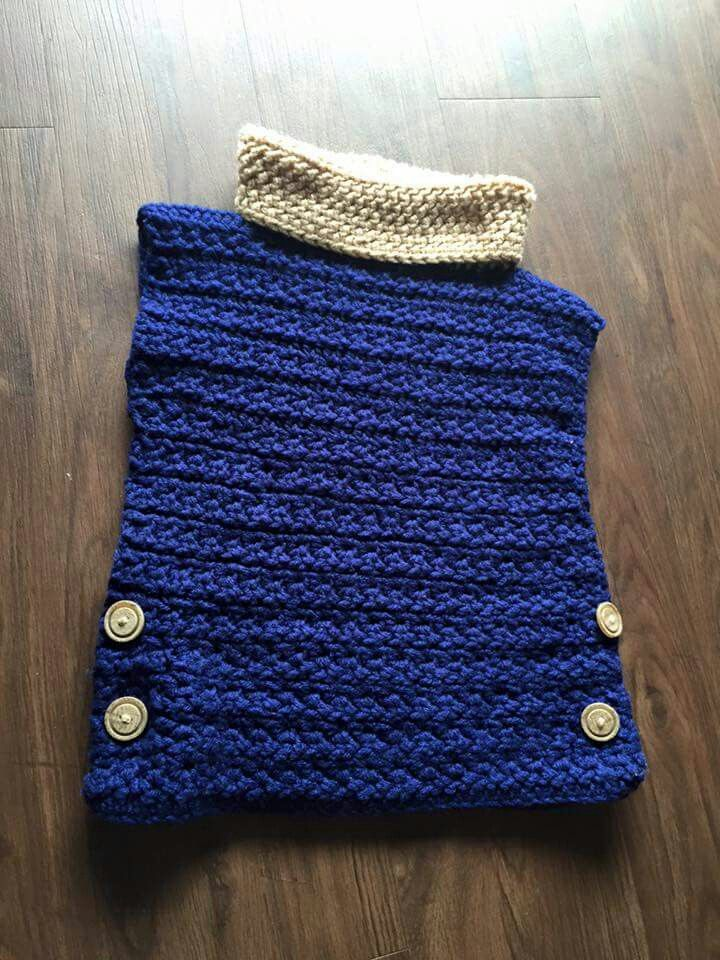 Easy pullover. Just make 2 square and stitch them tog. Then make neck warmer