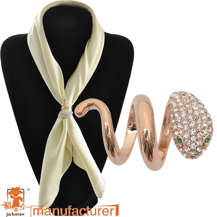 High quality!Fashion Korean wholesale rose gold snake animals scarf ring  rhinestone scarf buckle for women