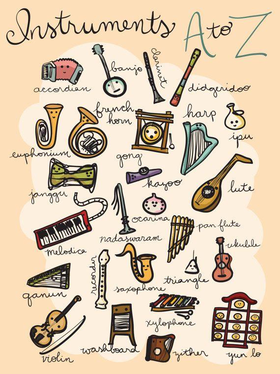Instruments de A à Z affiche - 18 x 24 - téléchargement immédiat, imprimer musique, art de l'alphabet, pépinière alphabet imprimer, ABC pour pépinière, art de la musique