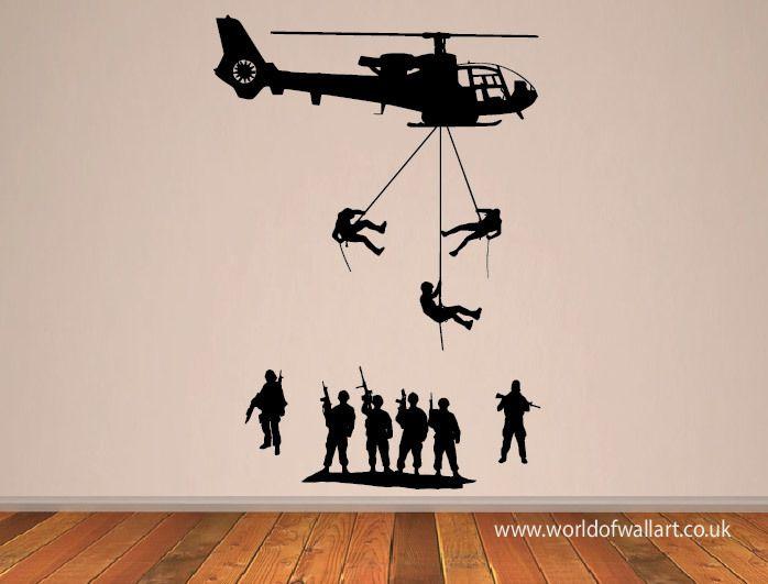 World Of Wall Art - Army Troops Helicopter Wall Sticker, £9.99 (http://www.worldofwallart.co.uk/army-troops-helicopter-wall-sticker/)