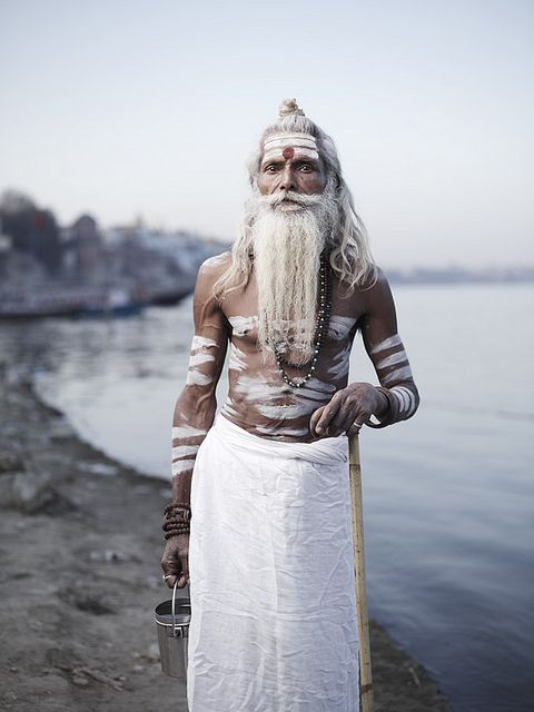 Baba Vijay Nund outside his ashram on the banks of the Ganges River. Varanasi, India © Joey L