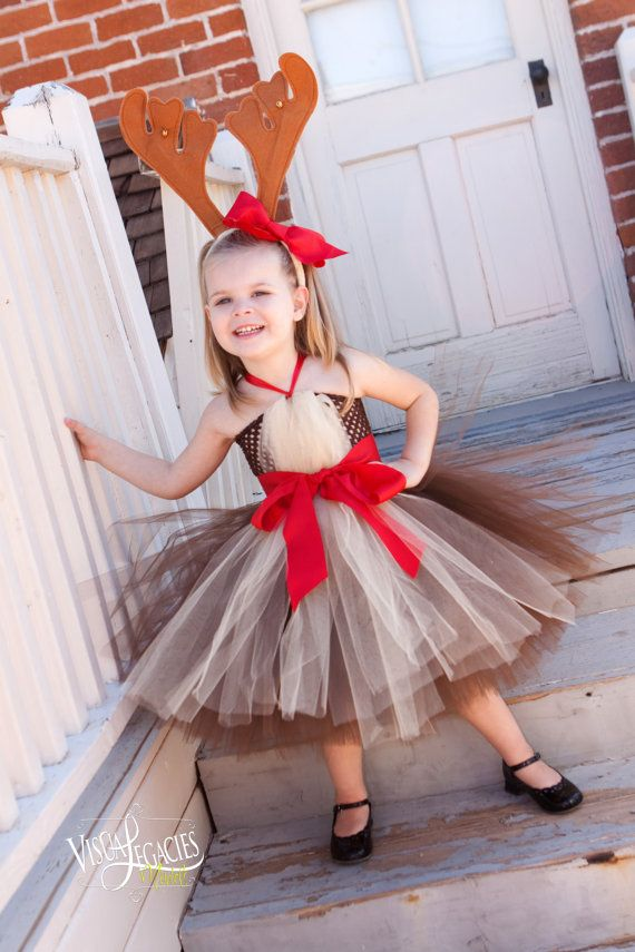 CHRISTMAS Tutu Dress REINDEER Tutu with by AllDressedUpCouture, $45.00