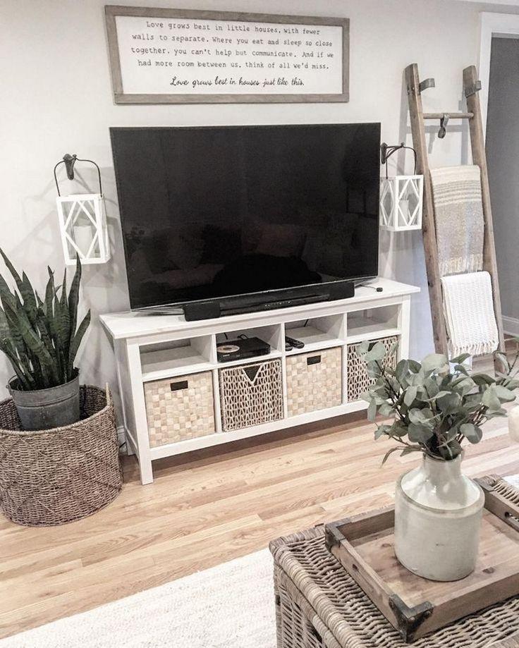 46 Cozy Farmhouse Living Room Decor Ideas 27 In 2020 Living Room Tv Stand Farmhouse Decor Living Room Farm House Living Room