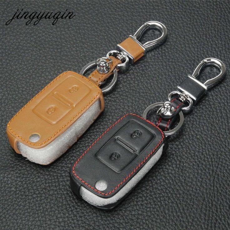 jingyuqin Leather 2 Button Car Flip Key Cover Case For VW Passat Polo Golf Seat Touran Bora Jetta Cady Touran Sharan Transporter #Affiliate