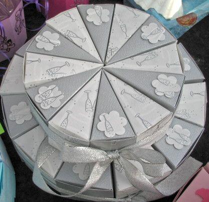Papiertorte für Geldgeschenke zur Silberhochzeit Paper cake silver wedding for money gifts