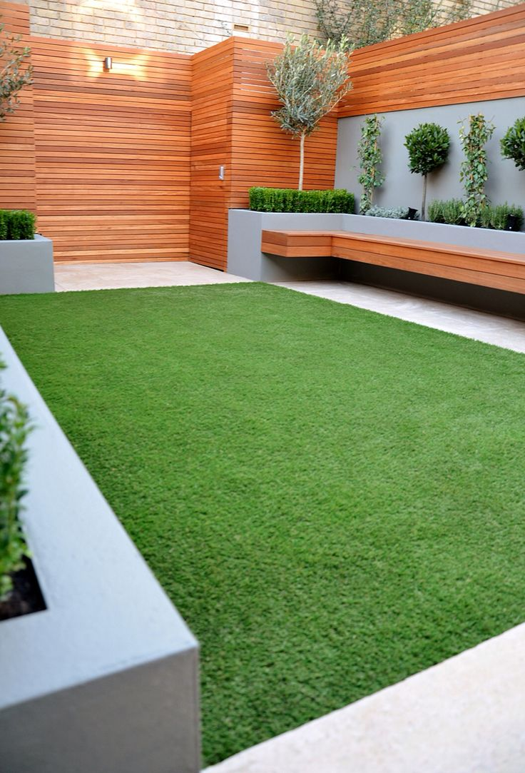 Small garden with decking seating