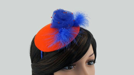 Orginal headpiece on the band handmade felt orange in by JPPDESIGN, zł187.00