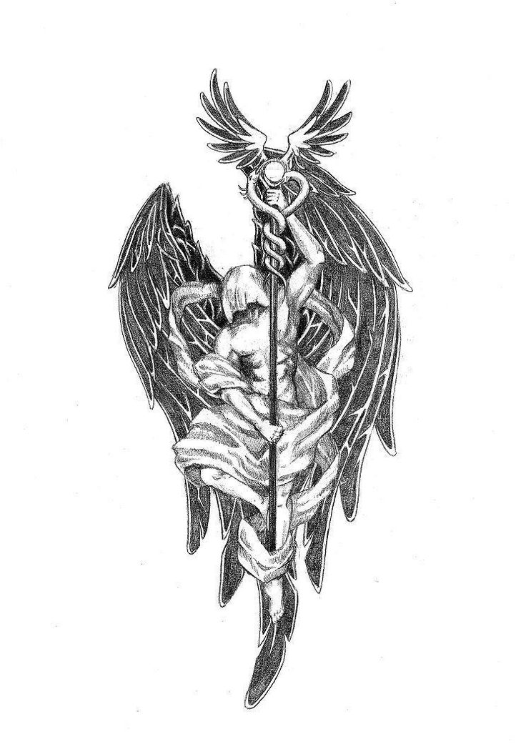 Archangel Raphael - Gabe would have this tattoo on his left shoulder blade. Rafi would have a mirror image on his right shoulder, identical to Gabe's tattoo, but a long trumpet instead of a staff, representing the Archangel Gabriel. (Ironic that the Deafie who doesn't speak has the trumpet.)  When they stand together, shoulder to shoulder, the two angels face each other.
