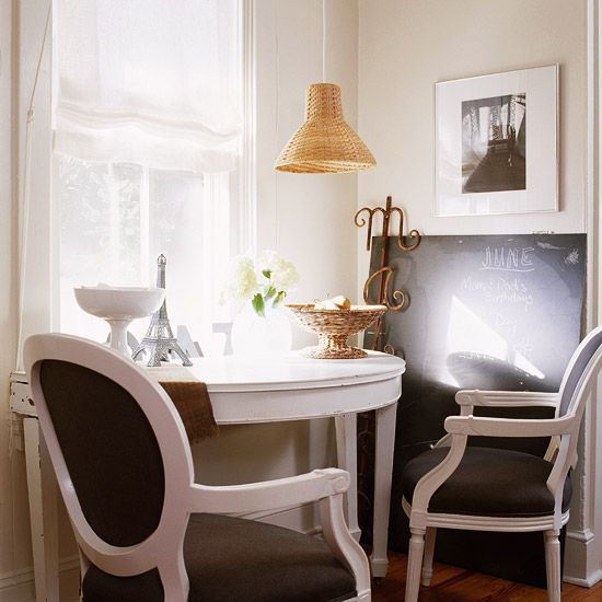 Define Activity Zones  A half-circle table tucked under a window turns a corner of the living room into a home office or a breakfast table. Use a pendant light for illumination, and save space on the table itself. Paint a piece of plywood with chalkboard paint to make an oversize blackboard for notes and messages--or impromptu art.