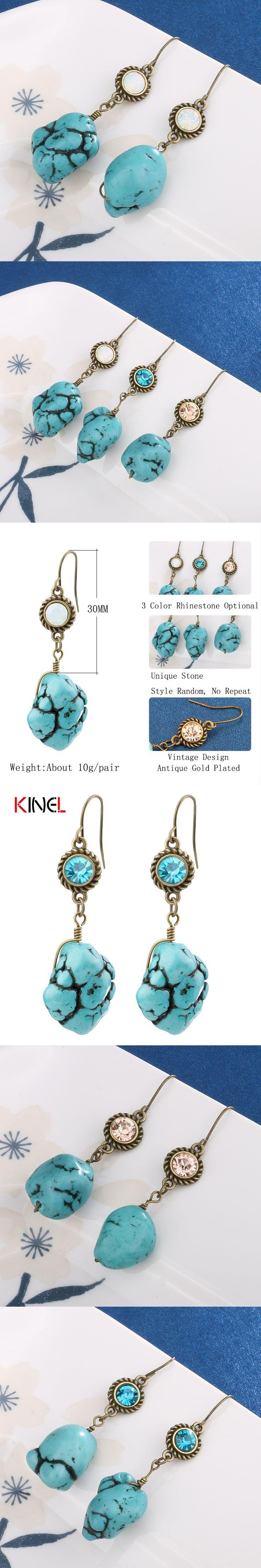 2017 NEW Kinel Fashion BOHO Hang Artificial Stone Drop Earrings For Women Unique Vintage Jewelry Random Stone Earring