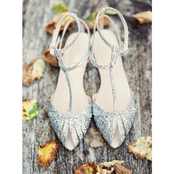 Silver Wedding Flats T Strap Sparkly Sandals image 3