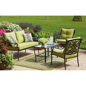 Better Homes and Gardens Hillcrest 4-Piece Patio Conversation Set, Seats 4