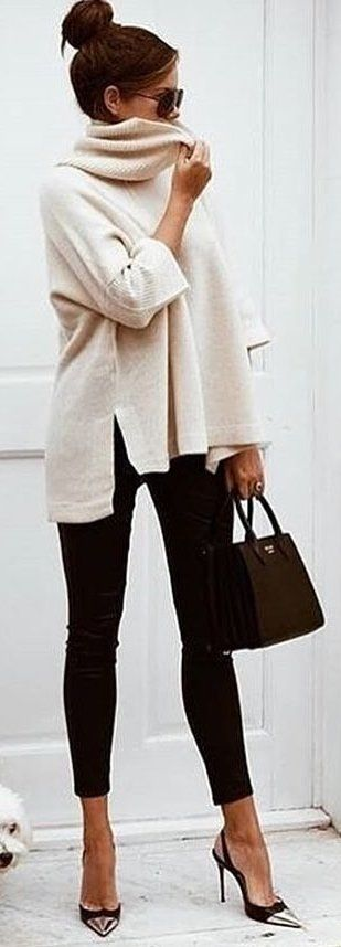 #winter #outfits brown long-sleeved top and black denim jeans