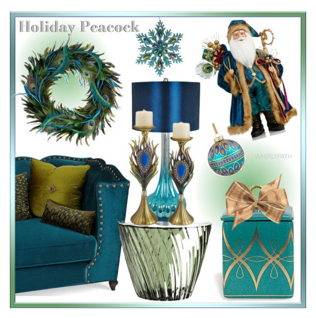 Holiday Peacock! by whirlypath on Polyvore featuring interior, interiors, interior design, home, home decor, interior decorating, Haute House, Kartell, Crestview Collection and Holiday Lane