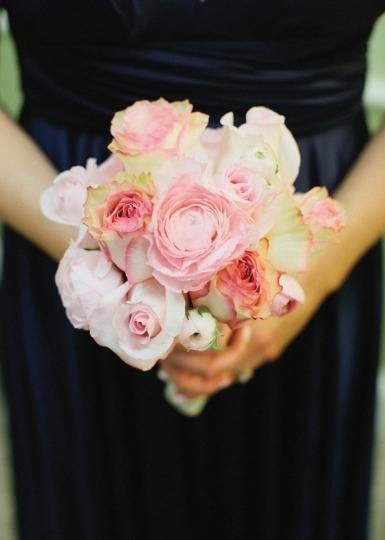 Pretty pink rose bridesmaid bouquet by The French Tulip.  Photo by Amanda Watson Photography.