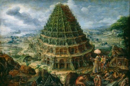 """camilotangerine:  """"Marten van Valckenborch the Elder, The Tower of Babel, 1595, oil, 75 x 105 cm., Gemäldegalerie Alte Meister, Staatliche Kunstammlungen, Dresden.  """""""