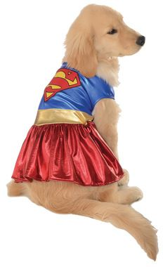 Adorable shiny wet-look costume with blue top, gold belt-stripe and red skirt-look. Traditional Superman insignia on back. Small size fits dogs with a neck to tail measurement of 11 inches and a chest