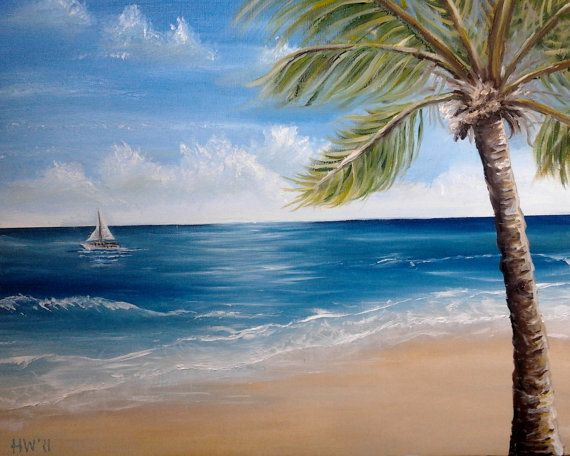 Palm Tree oil painting beach ocean Key West Tropical caribbean ocean art sailboat CANVAS PRINT of Original Oil Painting by Heather Wallace